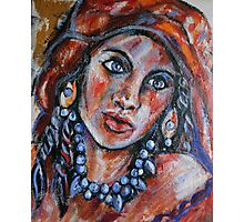 Blue Eyed Gypsy Woman Photographic Print