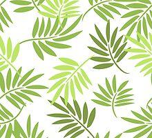 Green palm leaves pattern by yopixart