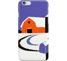 Winter Farm Scene Poster Graphic iPhone Case/Skin