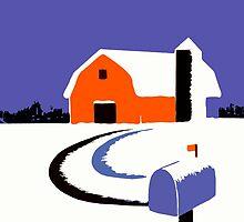 Winter Farm Scene Poster Graphic by Edward Fielding