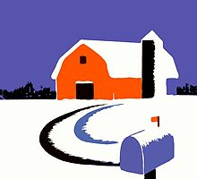 Winter Farm Scene Poster Graphic by Edward Fielding