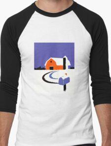 Winter Farm Scene Poster Graphic Men's Baseball ¾ T-Shirt