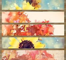 romantic impressionism art watercolor leaves sunflower by lfang77