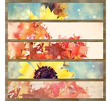 romantic impressionism art watercolor leaves sunflower Photographic Print