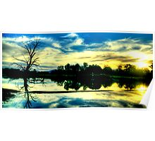 Sunset Reflections - Wonga Wetlands - The HDR Experience Poster