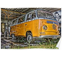 HDR Orange Volkswagen mini van Poster