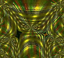 A colourful WA11 design of greens and gold, fractal trace  by Dennis Melling