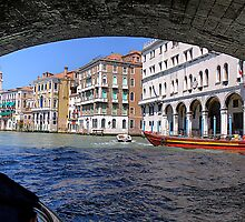 Under the bridge in Venice by David Freeman