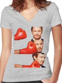 James Franco gets the humor knocked out of him Women's Fitted V-Neck T-Shirt