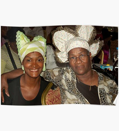 Two women with Curacao traditional head coverings Poster