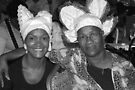Two women with Curacao traditional head coverings - BW by steppeland