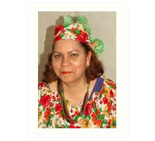 Lady with Curacao traditional headcovering - portrait 1  Art Print