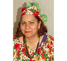 Lady with Curacao traditional headcovering - portrait 1  Photographic Print