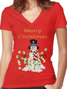 Snowman with Lights Tee Women's Fitted V-Neck T-Shirt
