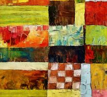 Abstract Color Study with Checkerboard and Stripes by Michelle Calkins