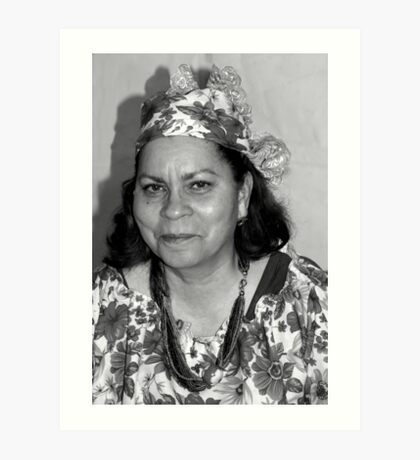 Lady with Curacao traditional headcovering - portrait 1 BW Art Print