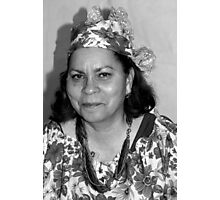 Lady with Curacao traditional headcovering - portrait 1 BW Photographic Print