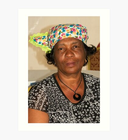 Lady with Curacao traditional headcovering - portrait 2 Art Print