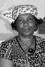Lady with Curacao traditional headcovering - portrait 2 BW by steppeland