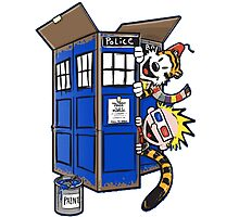 Calvin And Hobbes Tardis dr Who Funny Time Photographic Print