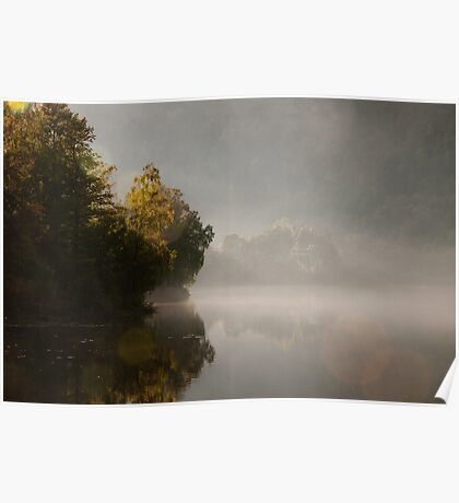 Lake Scenery In Autumn Colors Poster