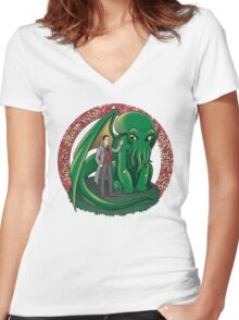 How to train your ancient god (colab with Ursula Lopez) Women's Fitted V-Neck T-Shirt