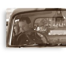 Mark in the old Bedford fire truck  Canvas Print