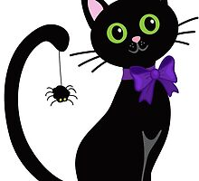 Black cute cat with  spider on his tail by Sandytov