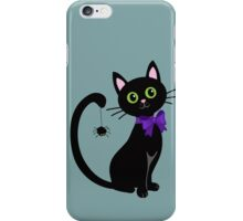Black cute cat with  spider on his tail iPhone Case/Skin