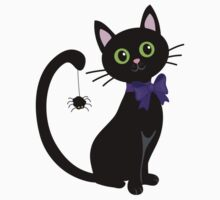 Black cute cat with  spider on his tail Kids Clothes