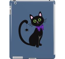 Black cute cat with  spider on his tail iPad Case/Skin