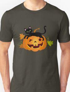 Black cat lying on a pumpkin. Halloween. T-Shirt