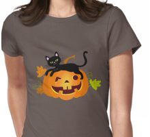Black cat lying on a pumpkin. Halloween. Womens Fitted T-Shirt