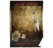 Paper Flowers and Hummingbirds Poster