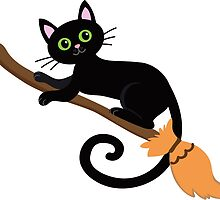 Black cat flying on a broomstick. Halloween. by Sandytov