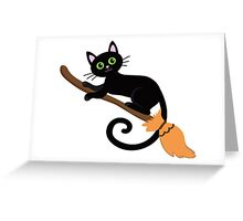 Black cat flying on a broomstick. Halloween. Greeting Card
