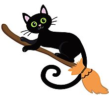 Black cat flying on a broomstick. Halloween. Photographic Print
