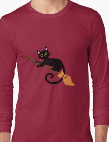 Black cat flying on a broomstick. Halloween. Long Sleeve T-Shirt