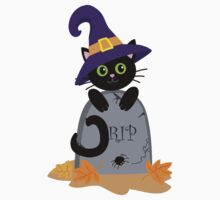Black cat in the hat on the tombstone. Halloween. Kids Clothes