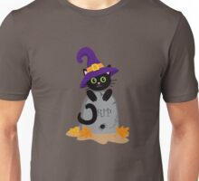 Black cat in the hat on the tombstone. Halloween. Unisex T-Shirt