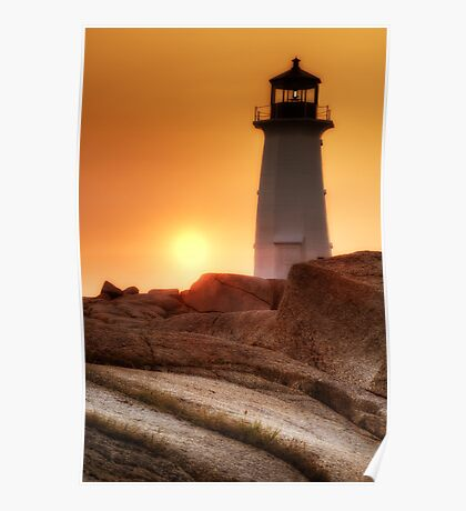 Lighthouse sunset Poster
