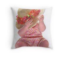 Little Flower Girl Throw Pillow