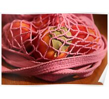 Nectarines in a Pink String Bag Poster