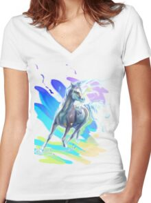 Color Horse Women's Fitted V-Neck T-Shirt