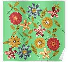 Painted flowers and leaves Poster