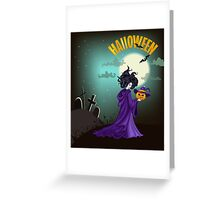 Beautiful witch with pumpkin in Halloween day. Greeting Card