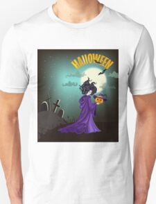 Beautiful witch with pumpkin in Halloween day. T-Shirt