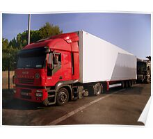 Red IVECO Truck  Poster