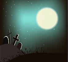 Halloween background with bright full moon. by Sandytov