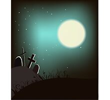 Halloween background with bright full moon. Photographic Print